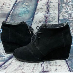 TOMS Black Suede Ankle Boots